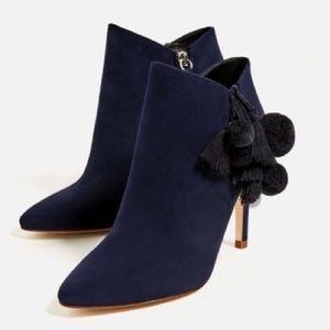 Zara leather high heel booties with Pom Pom tassel